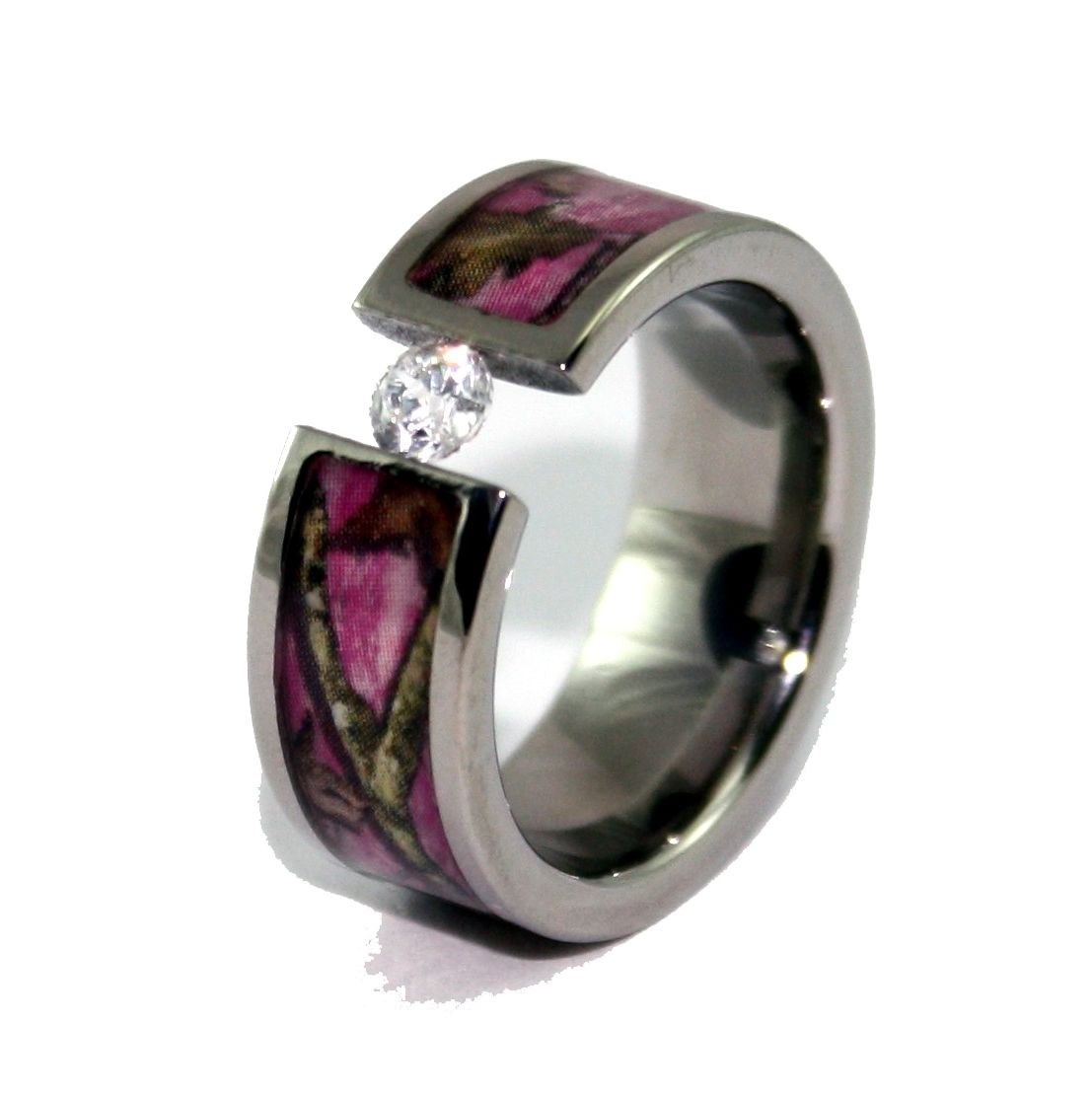 diamond pink camo wedding rings for her - Pink Camo Wedding Rings For Her