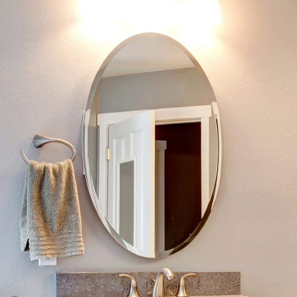 Fab Glass And Mirror 24 In X 48 In Oval Beveled Polish Frameless Wall Mirror With Hooks 799456351834 Mirror With Hooks Wall Mirrors With Hooks Mirror