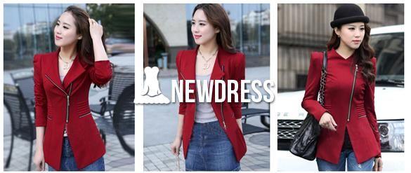 Fashion Women Blazer Turn Down Collar Slim Zipper Long Sleeve Jacket Suit Coat
