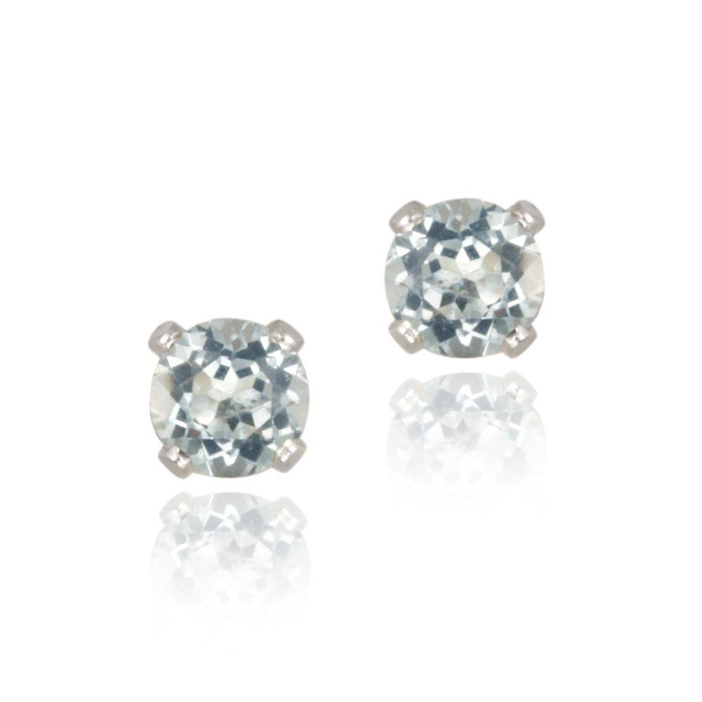 Glitzy Rocks Sterling Silver 5/8ct TGW 4-mm Blue Topaz Stud Earrings (SE9376-BT), Women's