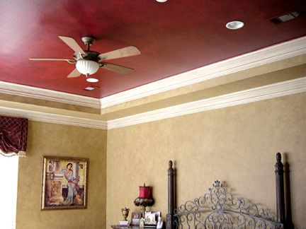 red ceiling- greige walls- white trim | To Do | Pinterest | Ceilings ...