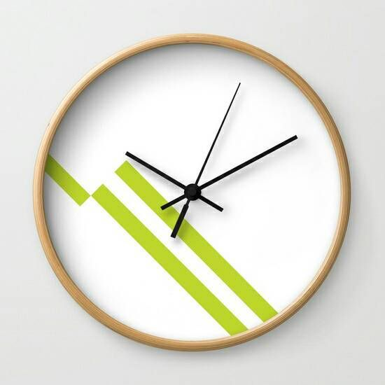 Custom Scandinavian Lines Lime Green Wall Clock Modern Green Wall Clocks Wall Clock Modern Lime Green Walls