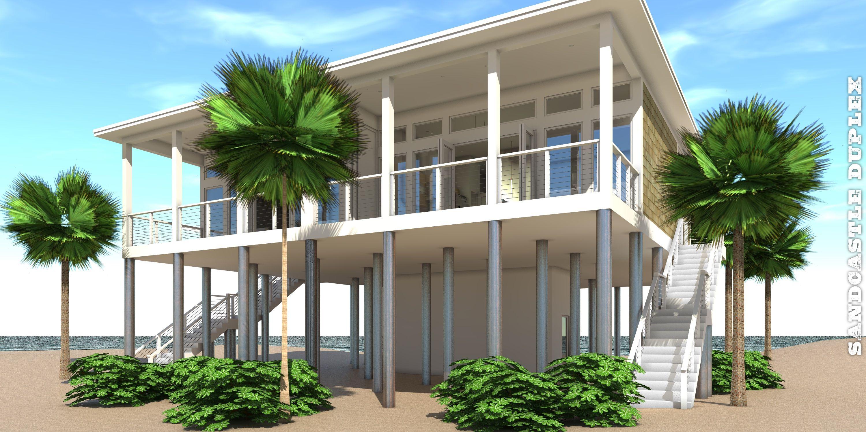 Sandcastle duplex plan in 2019 house plans duplex plans