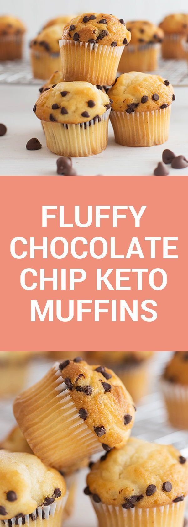 Fluffy Chocolate Chip Keto Muffins #lowcarbrecipes