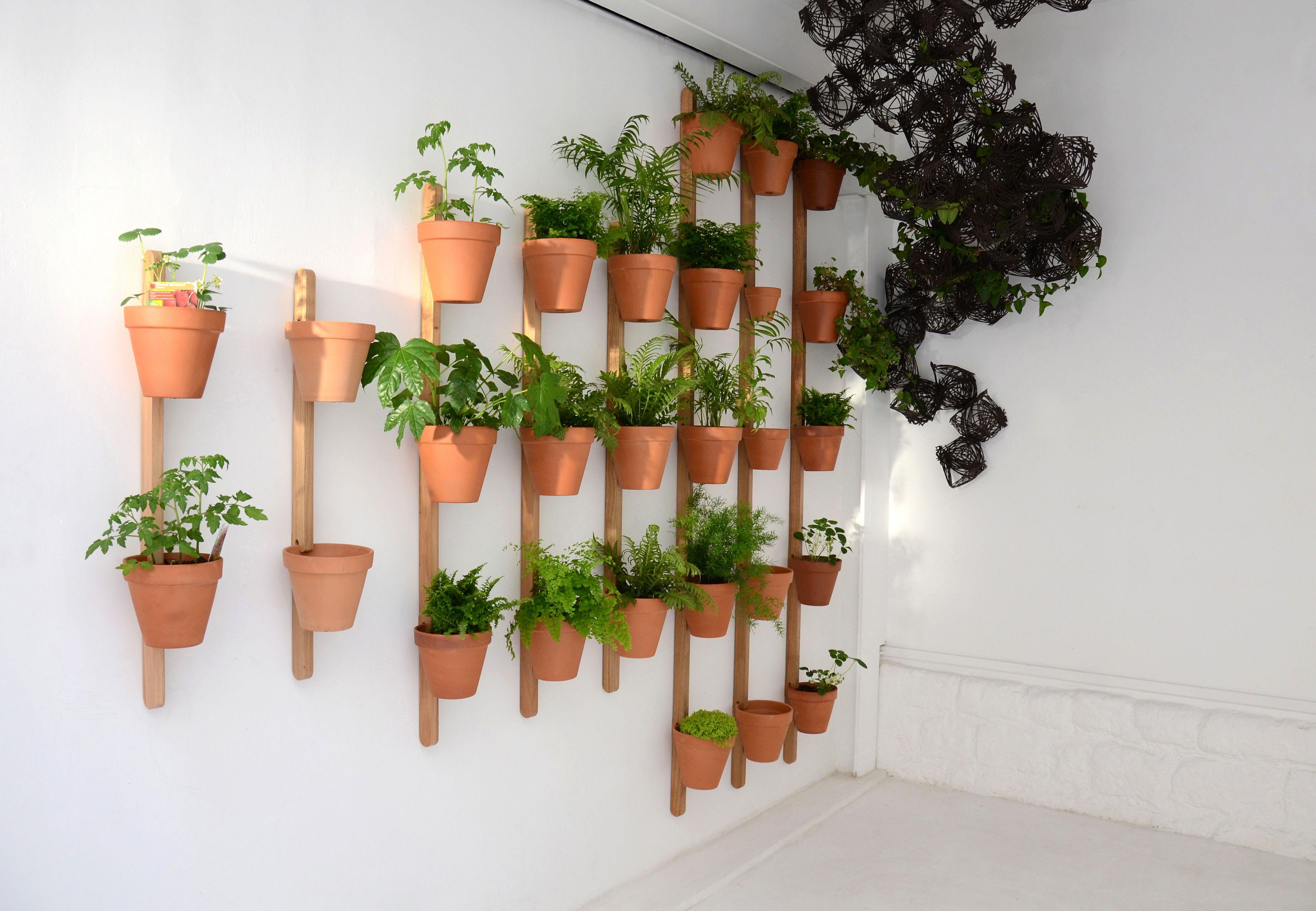 Support Mural Xpot Pour 3 Pots De Fleurs Ou Etageres H 150 Cm