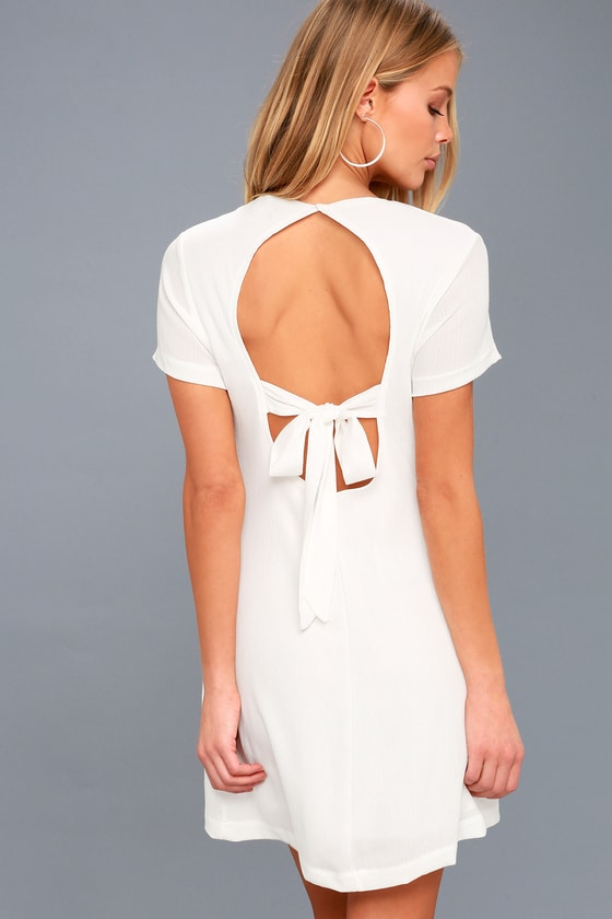 Lulus | Vacay Days White Backless Shift Dress | Size X-Small | 100% Polyester #shortbacklessdress