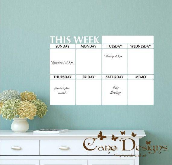 Weekly Planner Dry Erase Calendar with Memo - White board Calendar ...