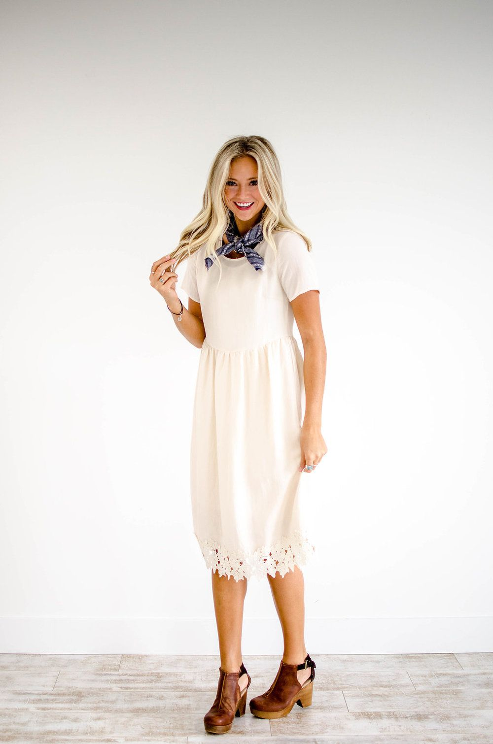 Cream dress with lace hem roolee cream dress outfit