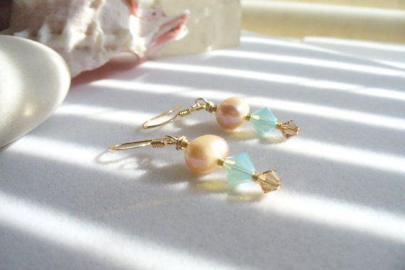 Dangle Drop Earring Pacific Opal and Smoky Topaz by Sparklesalot2, $6.50