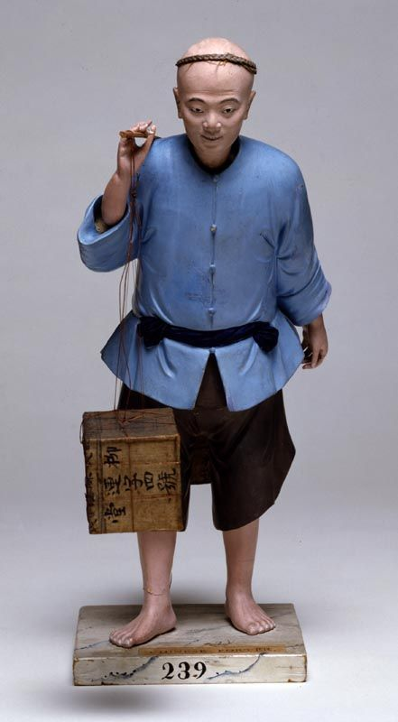 Figure of a Tea Carrier, c. 1803 China Unfired clay, wood, paint