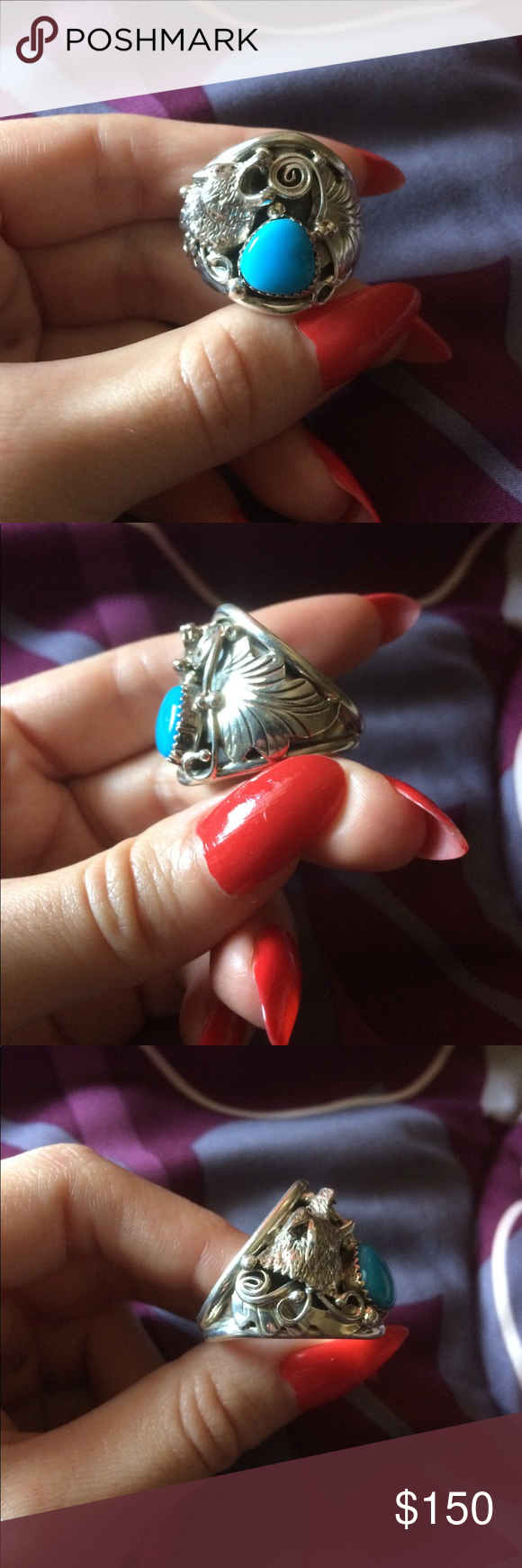 Howling Wolf Native American Turquoise Ring Native