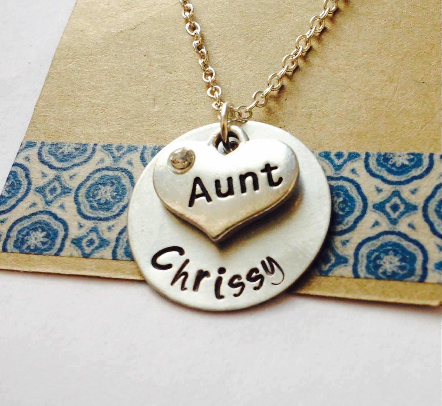 stamped hand jewelry pin necklace aunt for bling personalized auntie
