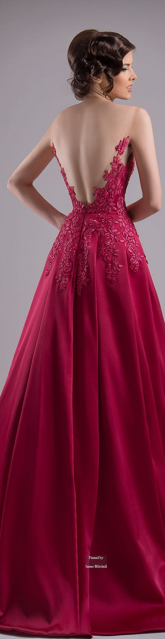 Chrystelle Atallah ~ Couture Spring Ruby Red Gown w Open Back Cascading Embroidery + Full Pleated Skirt  2015