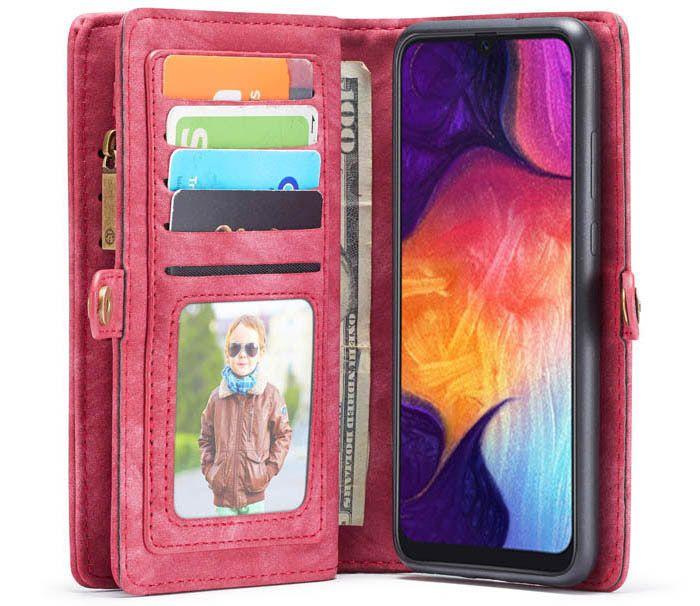 CaseMe Samsung Galaxy A50 Zipper Wallet Detachable 2 in 1 Case Red