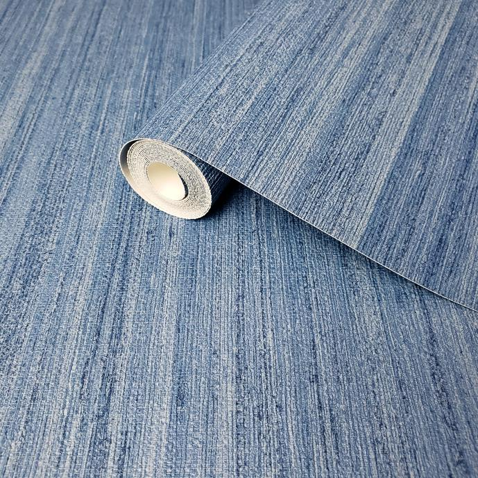 WM8801101 Modern Wallpaper Rustic Blue Faux Grasscloth