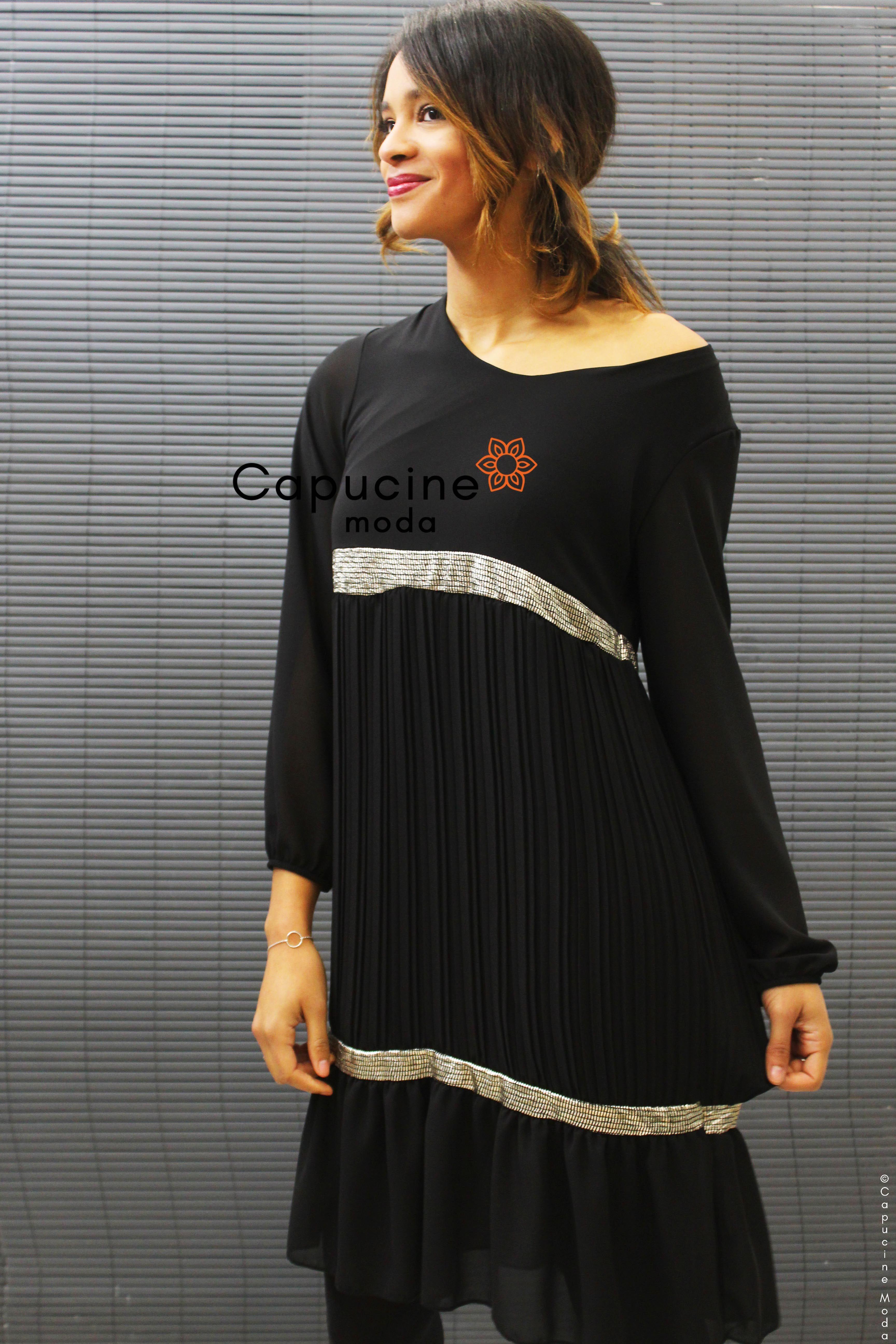 b6eb271918f Robe Noire Femme - Bas Plissé