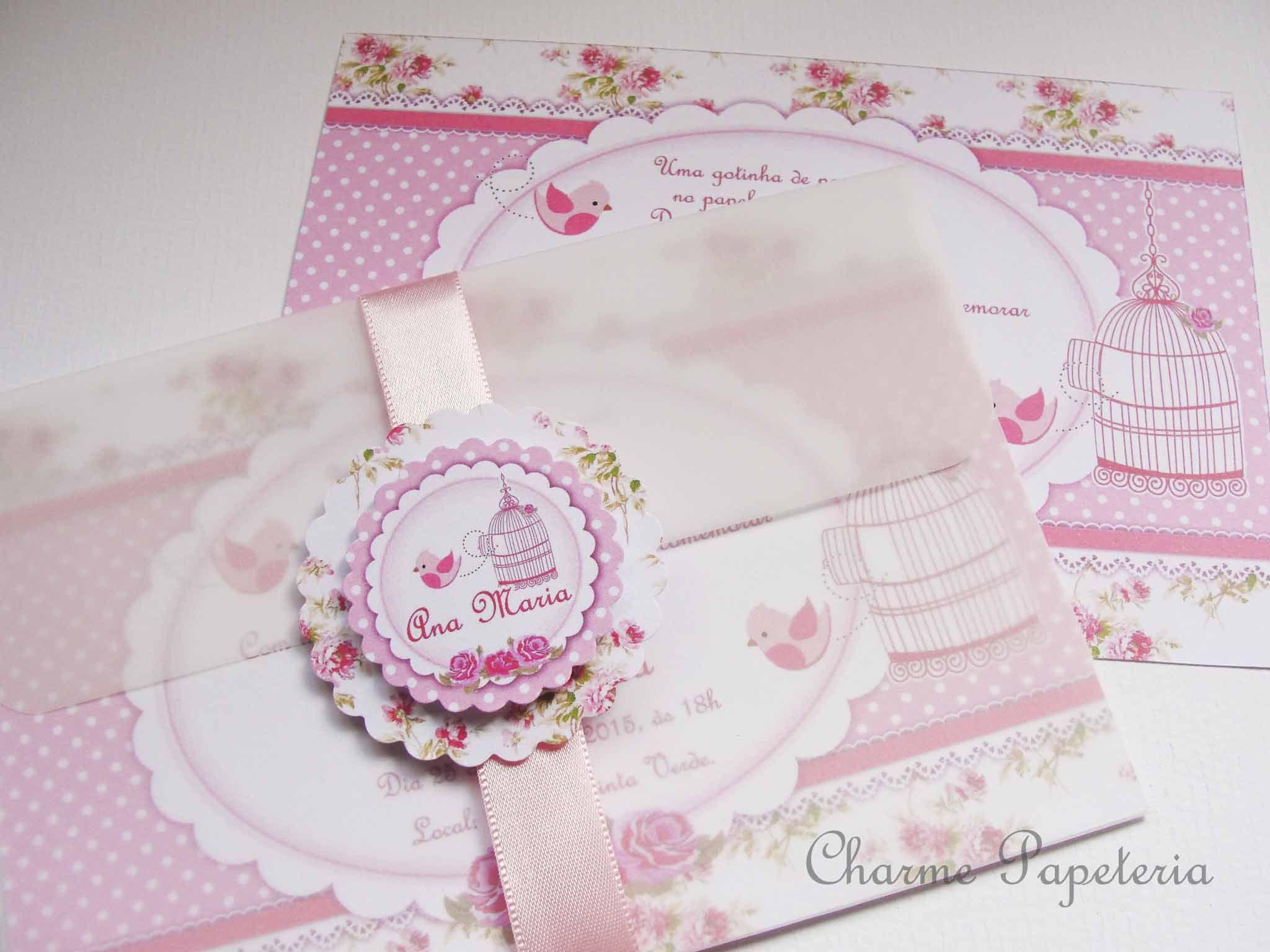Convite Jardim Encantado Floral Rosa e Branco ...