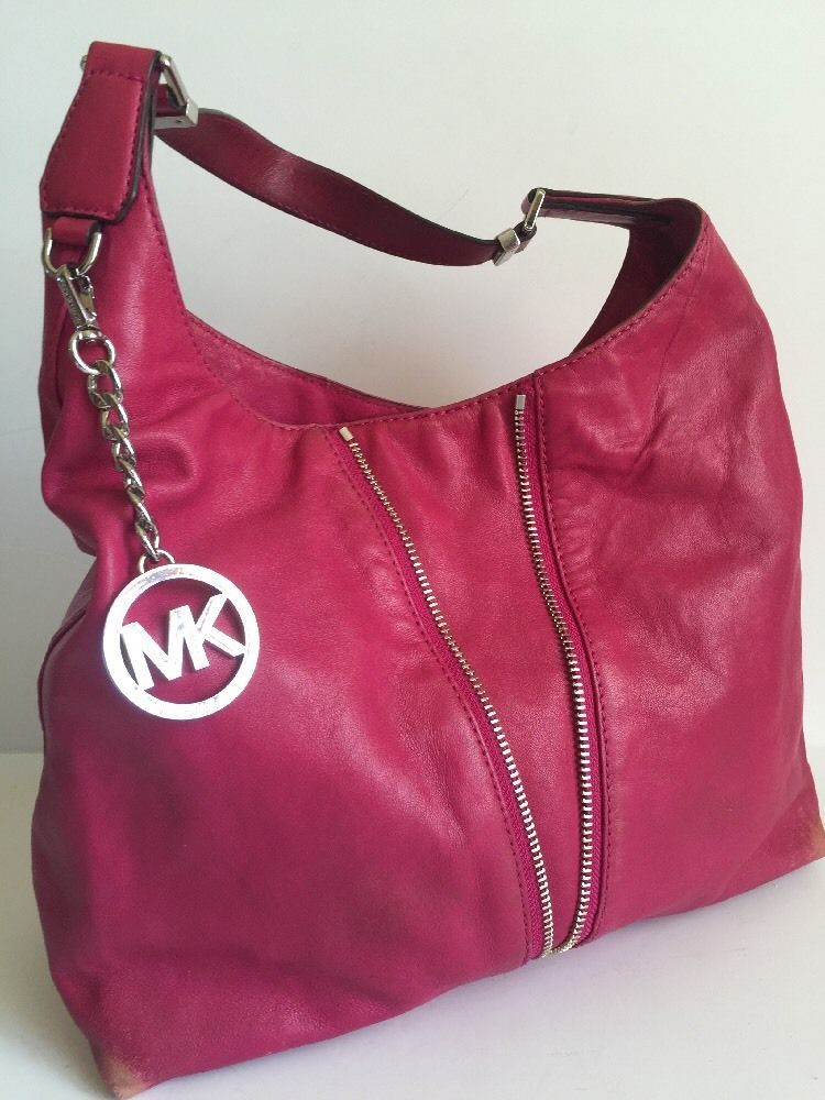 Michael Kors Newman Fuchsia Pink Leather Hobo Bag Purse Zipper MK ...