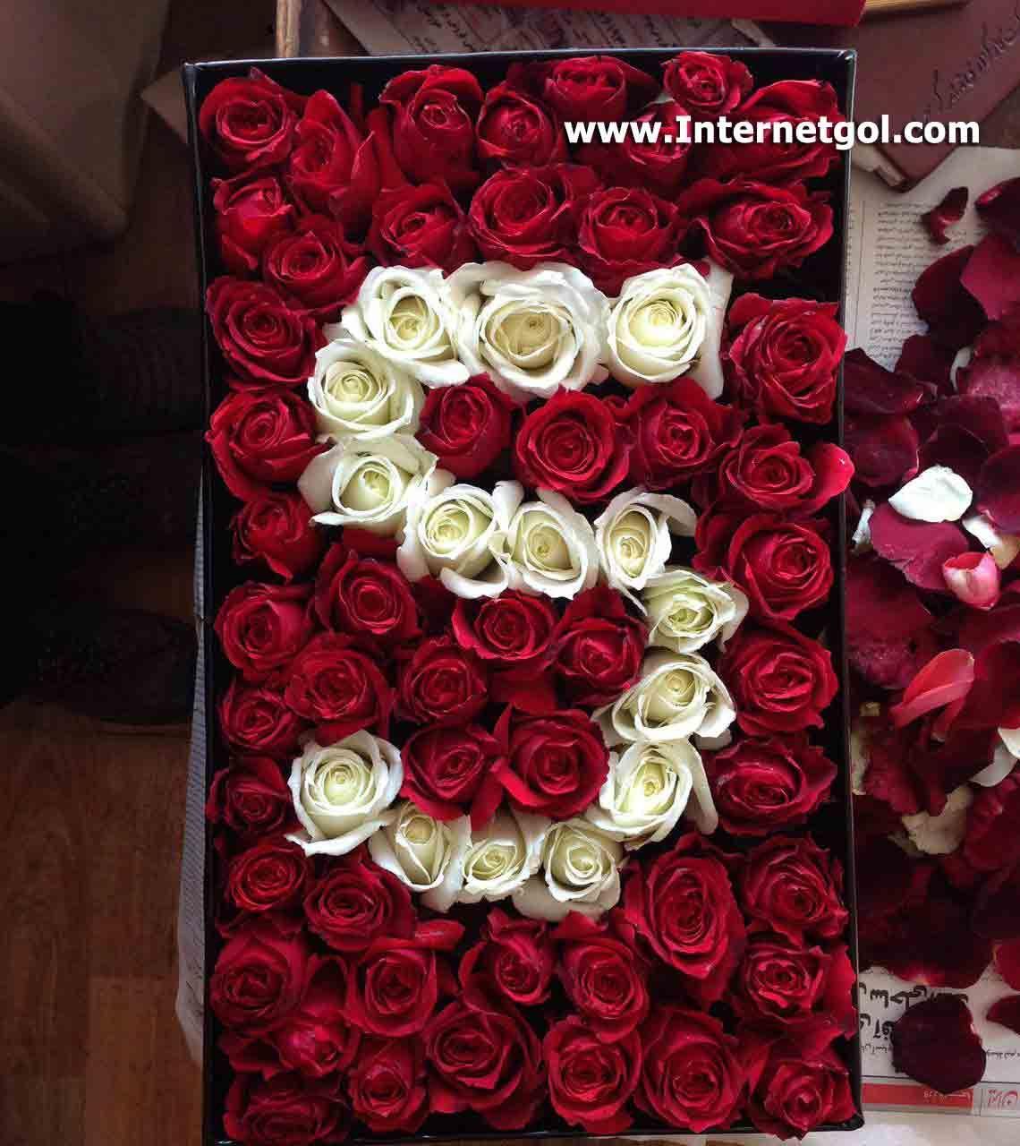 جعبه گل رز قرمز طرح حرف S انگلیسی شامل 50 شاخه گل رز قرمز و 15 شاخه گل رز سفید می باشد که رزهای سفید رنگ حرف S انگ Flower Drawing