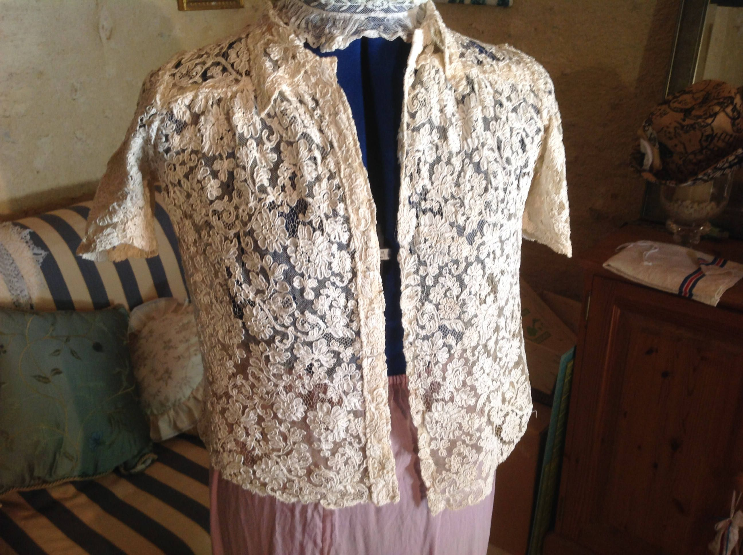 Beautiful Cream French Blouse with Vintage Needle Lace. 1920s. It Does Have Flaws. Gorgeous as a Display Item. Gossamer Lace. by FleursEnFrance on Etsy