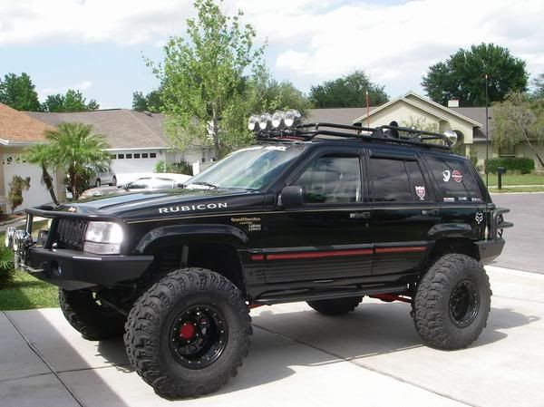 1995 Jeep Grand Cherokee 5 2 V 8 K N Intake 10inchs Of Lift 36inch Irocks On 16inch Rims Ford8 8 Rear Jeep Zj Jeep Grand Cherokee Zj Jeep Grand Cherokee
