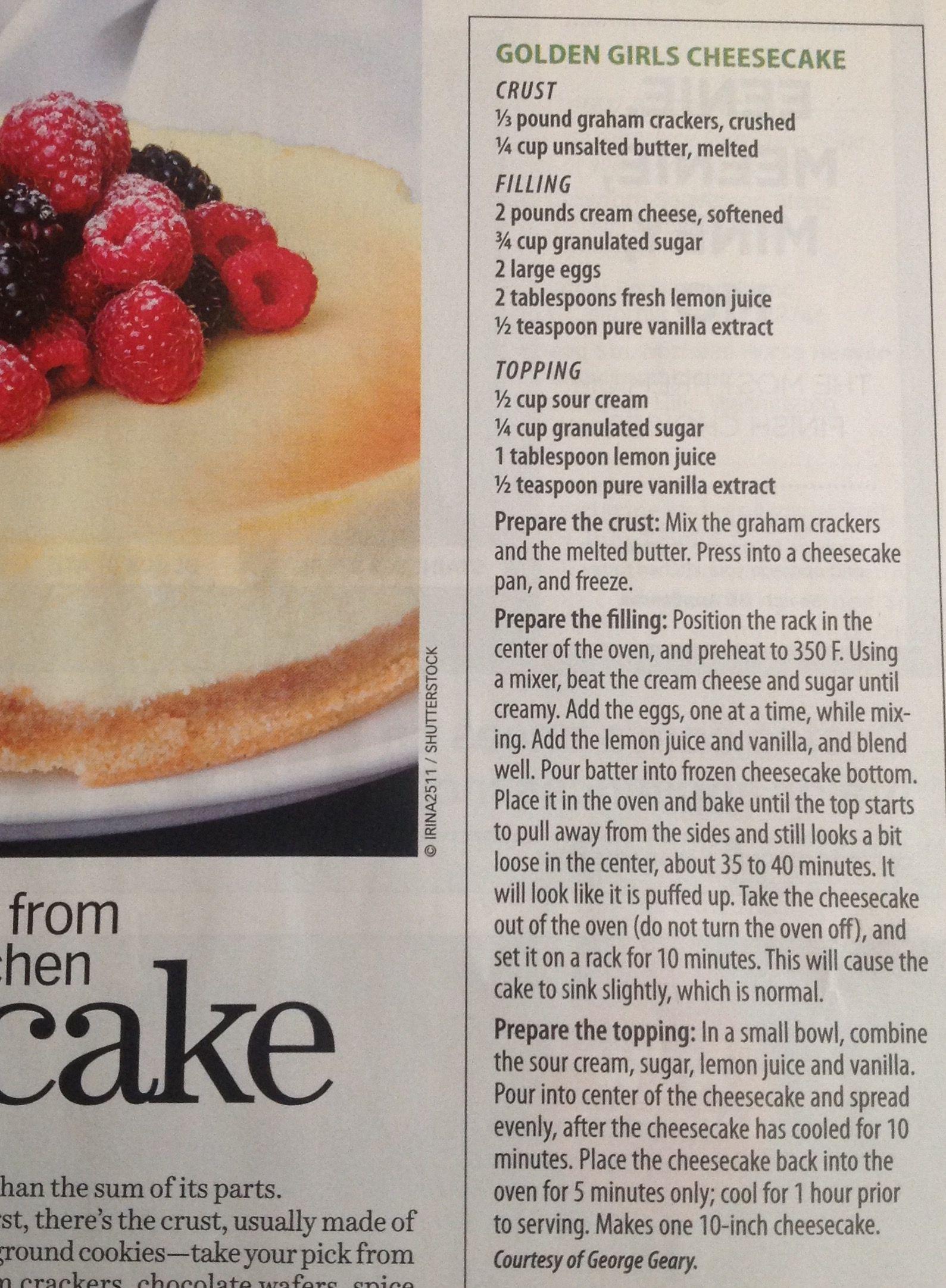 Golden Girls Cheesecake From Costco Magazine May 2018 Costco Cheesecake Recipe Sour Cream Cheesecake Dessert Recipes