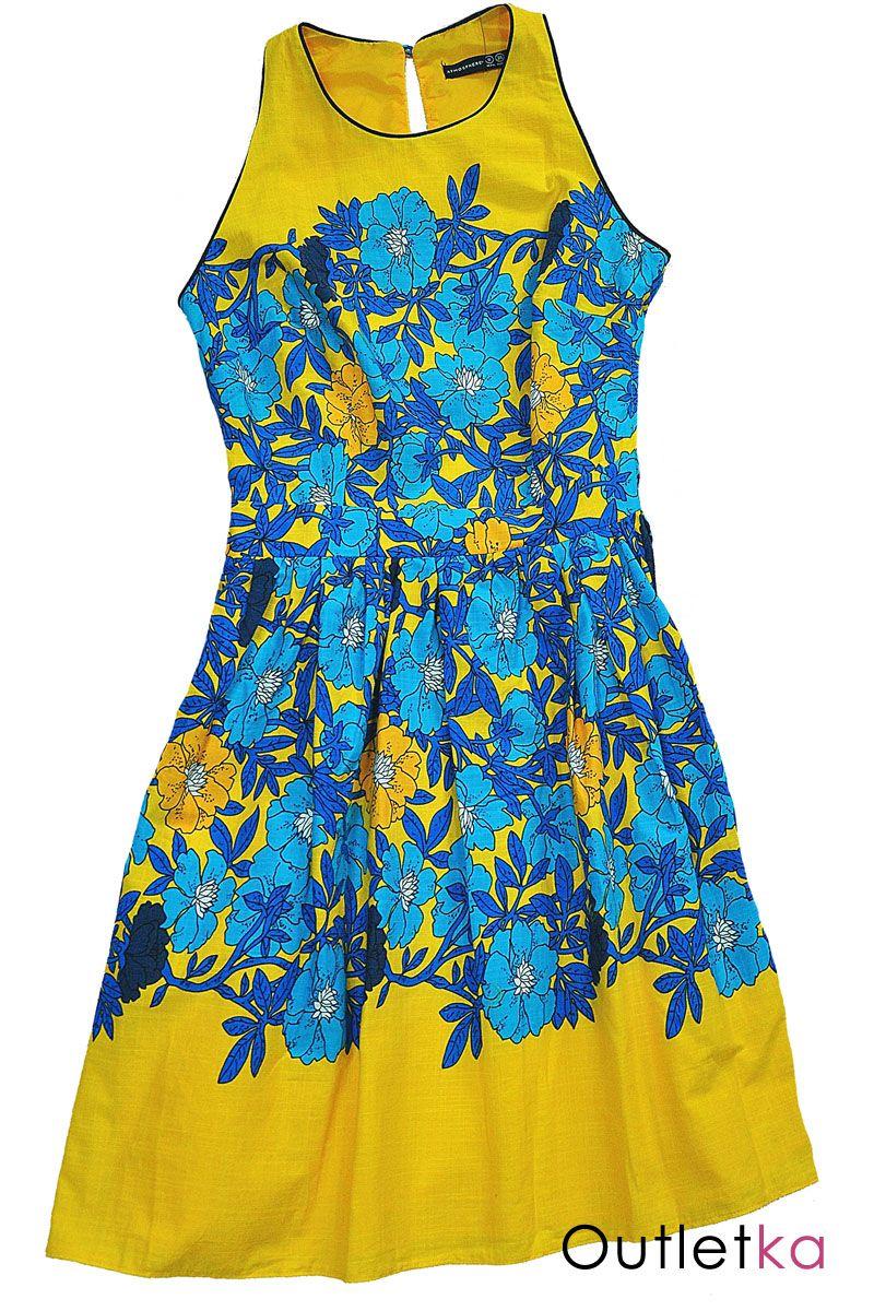 Nowa Sukienka Firmy Atmosphere W Odcieniu Zoltym W Niebieskie Kwiaty Sukienka Na Grubych Ramiaczkach Z Tylu Zap Summer Dresses Dresses Lily Pulitzer Dress