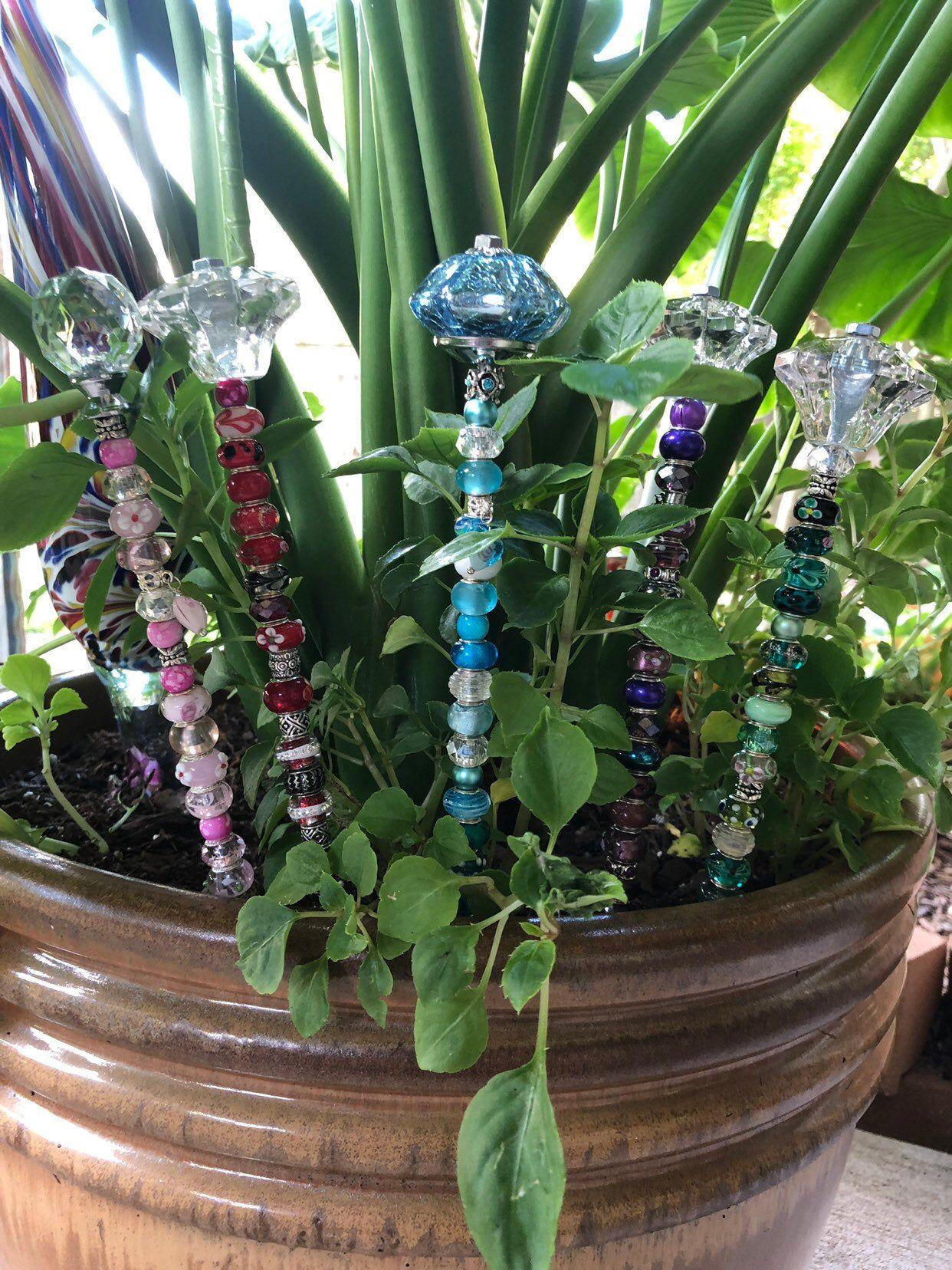 Beaded garden stake garden jewelry fairy garden stakes