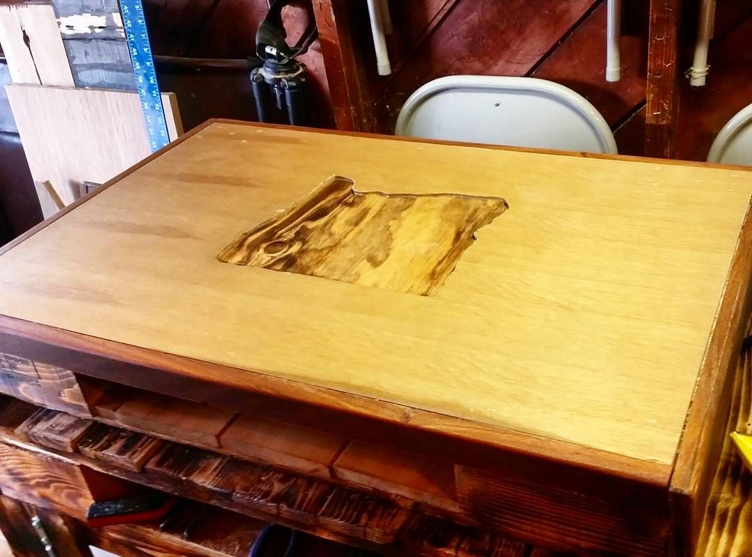 """Only a few """"repairable"""" mistakes made while routering this Oregon In-Lay Table top I'm working on. First try for everything I guess! #OREGONDIRTWOODWORKING #oregon #woodwork #custombuilt #woodworking #craftsmanship #art #wood de oregondirt"""