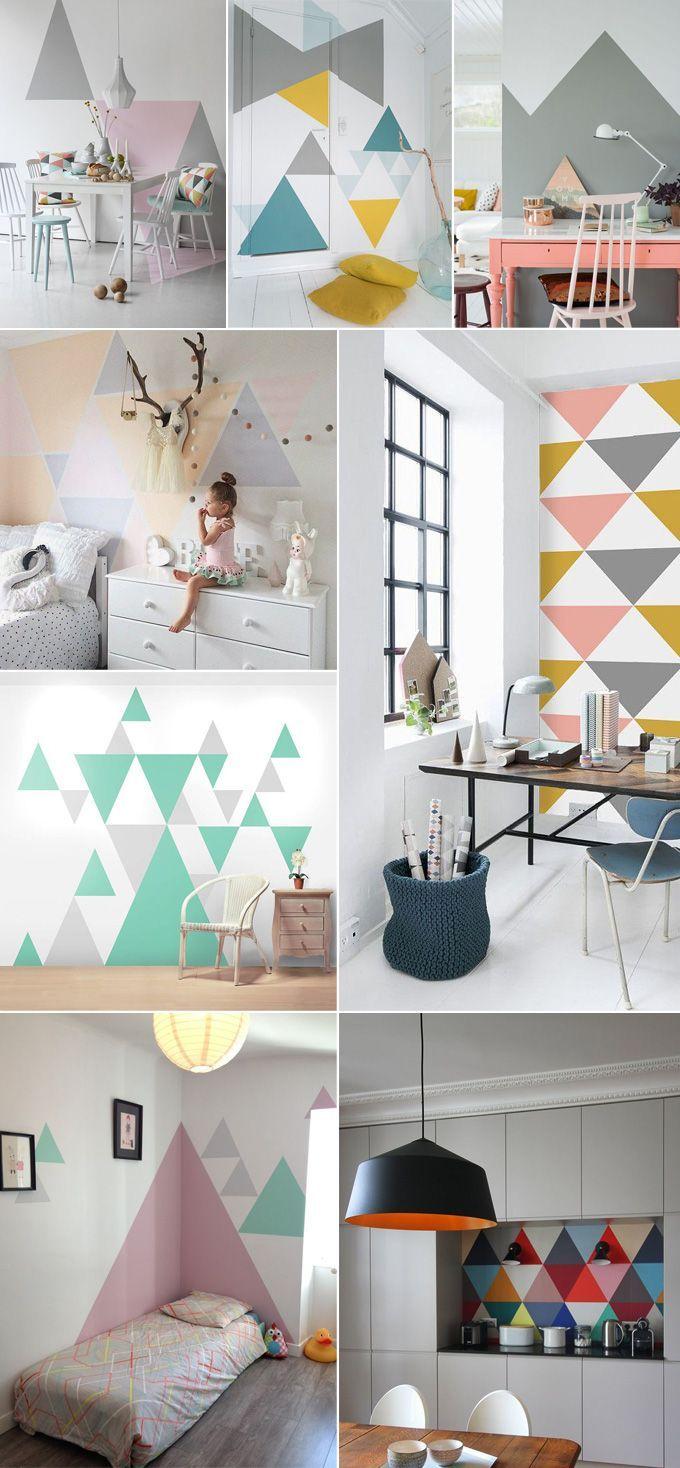 Décoration inspiration scandinave vintage retro geometrique triangle maison coussin linge de maison origami guirlande etageres tapis peinture