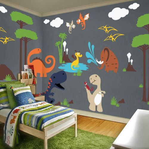 Dinosaur land playroom wall decal volcano grasses and palm for Dinosaur pictures for kids room