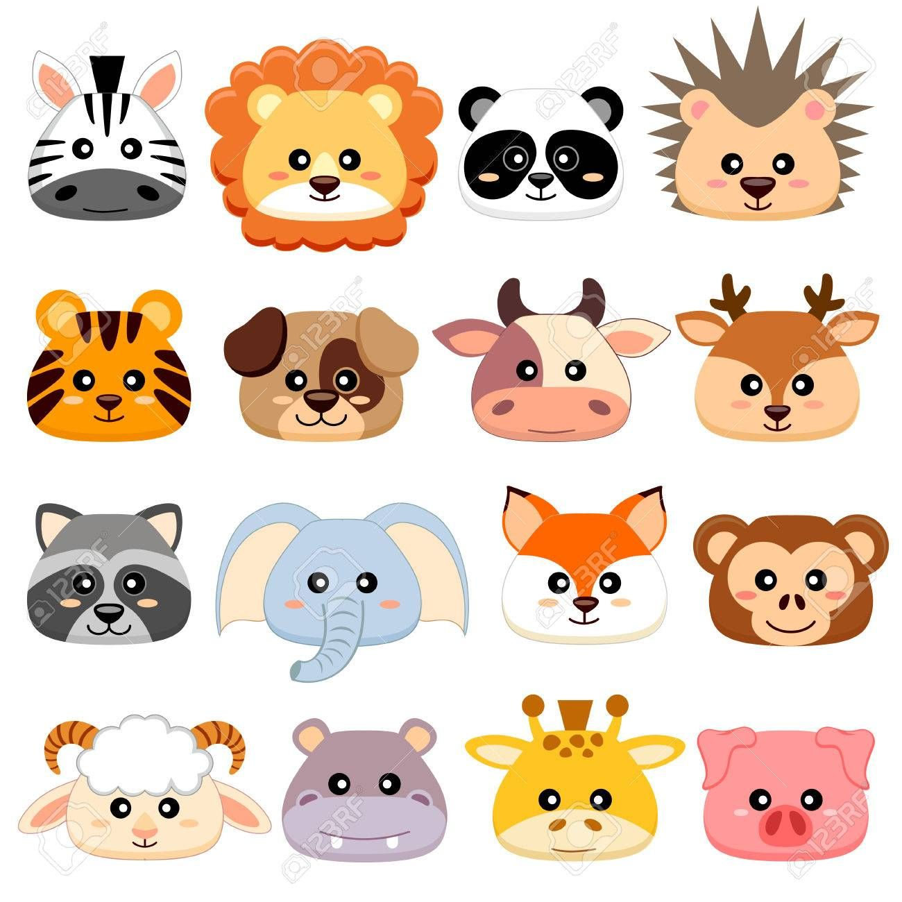 Cute Cartoon Animals Head Dog Pig Cow Deer Lion Sheep Caras De Animales Perros En Caricatura Perros Lindos