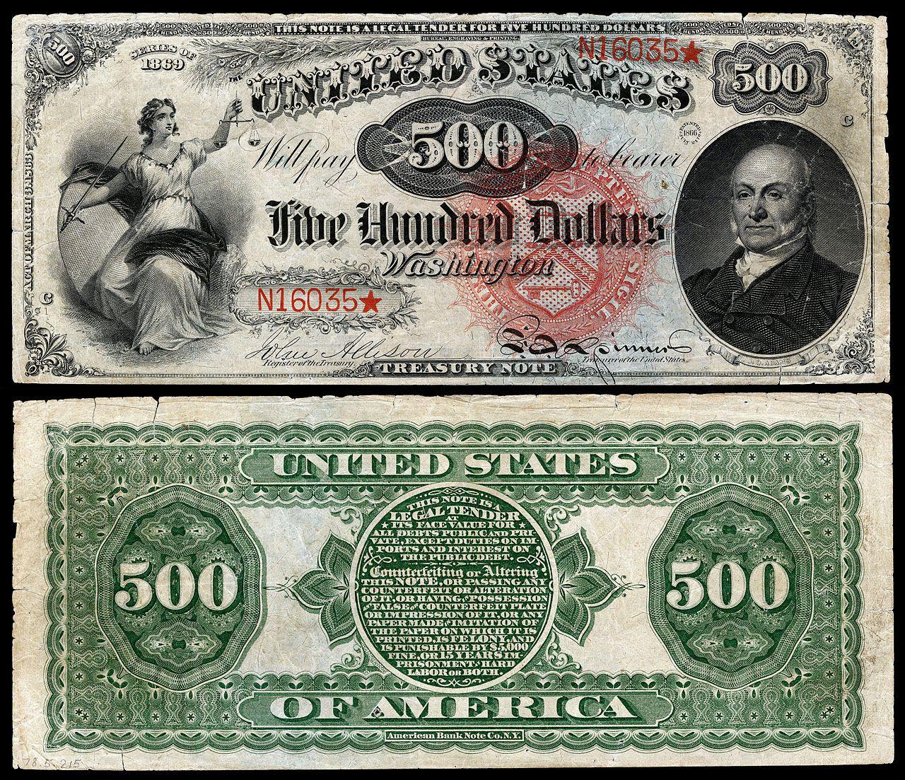 500 Legal Tender Note Series Fr 184 Depicting