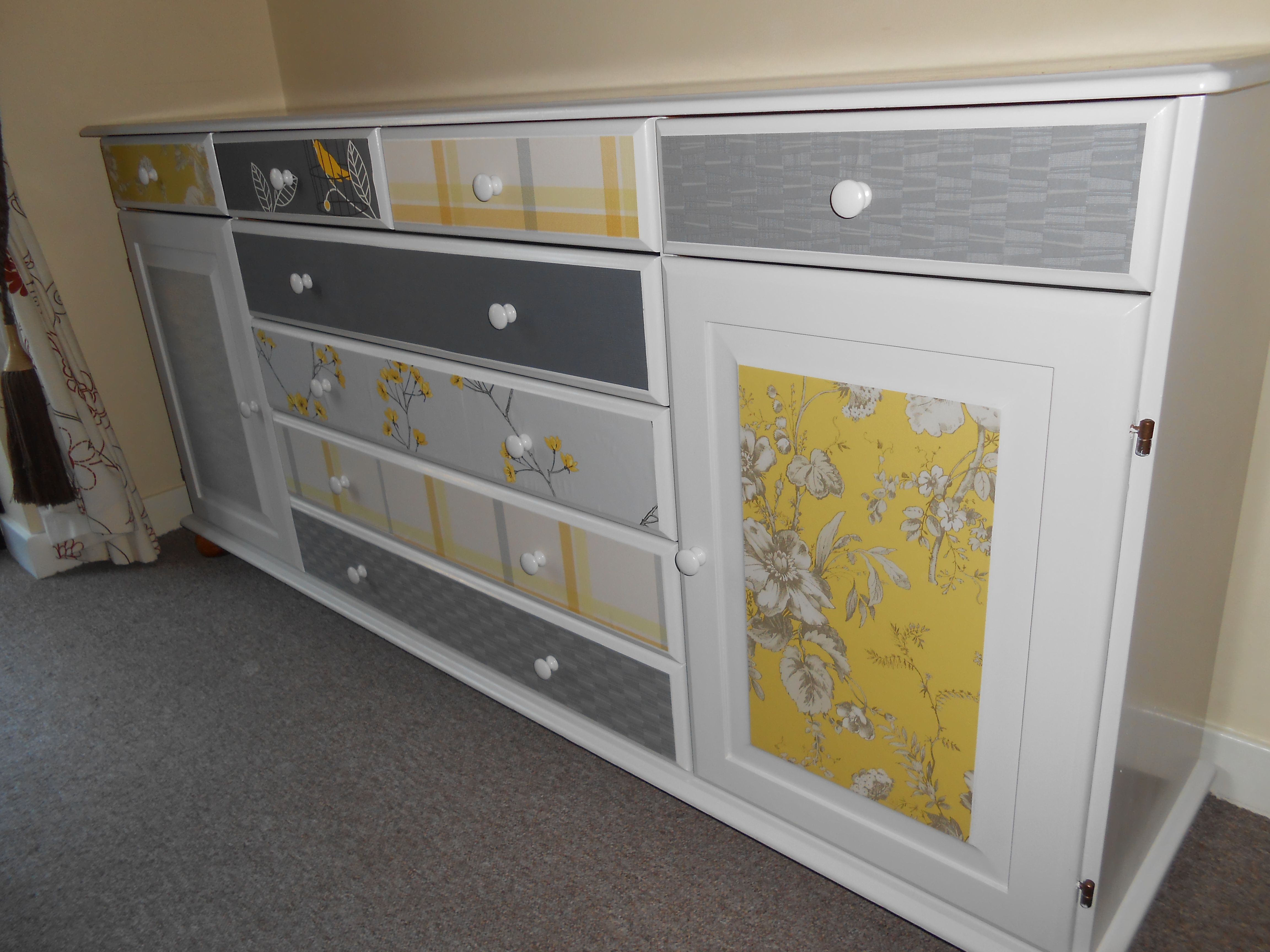 Upcycled sideboard with paint and a few wallpaper samples just took me a weekend to do - Upcycling ideas for furniture ...