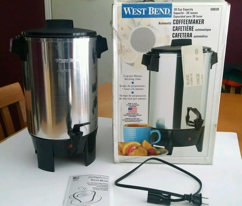 Uncategorized Kitchen Appliances Ebay west bend 58030 30 cups coffee maker polished aluminium small kitchen appliancessmall