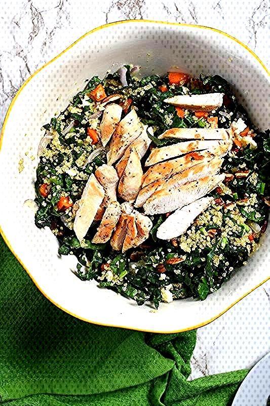 Kale, Quinoa and Roasted Sweet Potato Salad - Prairie Winds Life recipes