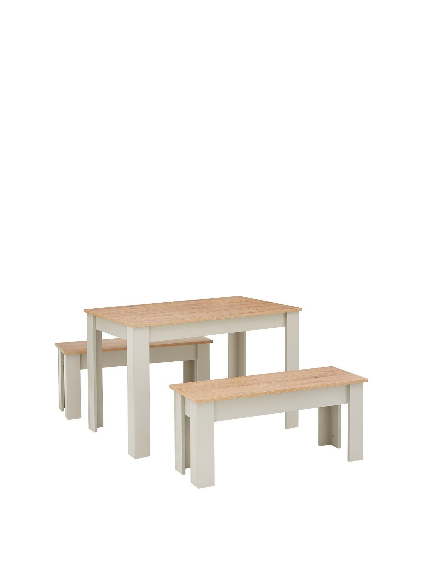 Cornwall 120 Cm Dining Table And 2 Benches Grey Oak Effect