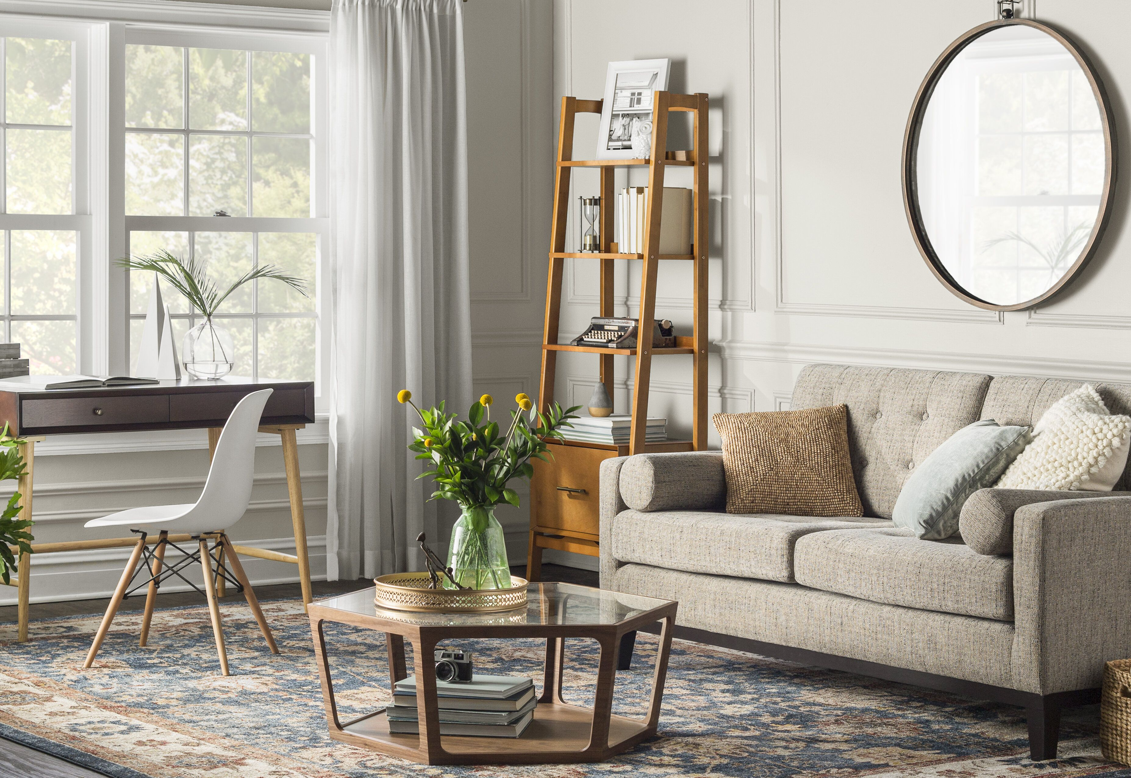 how to place a 5x7 rug in living room
