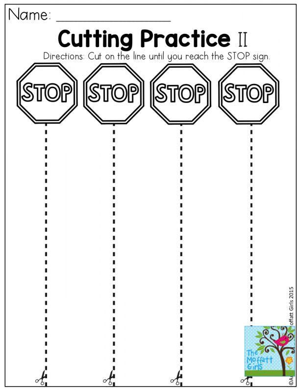 Pin On Preschool Worksheet Practice cutting worksheet for preschool