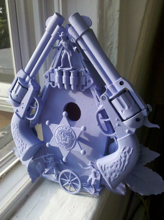 purple cowboy birdhouse sculpture by CheeseCrafty on Etsy, $42.00 ---might need this..