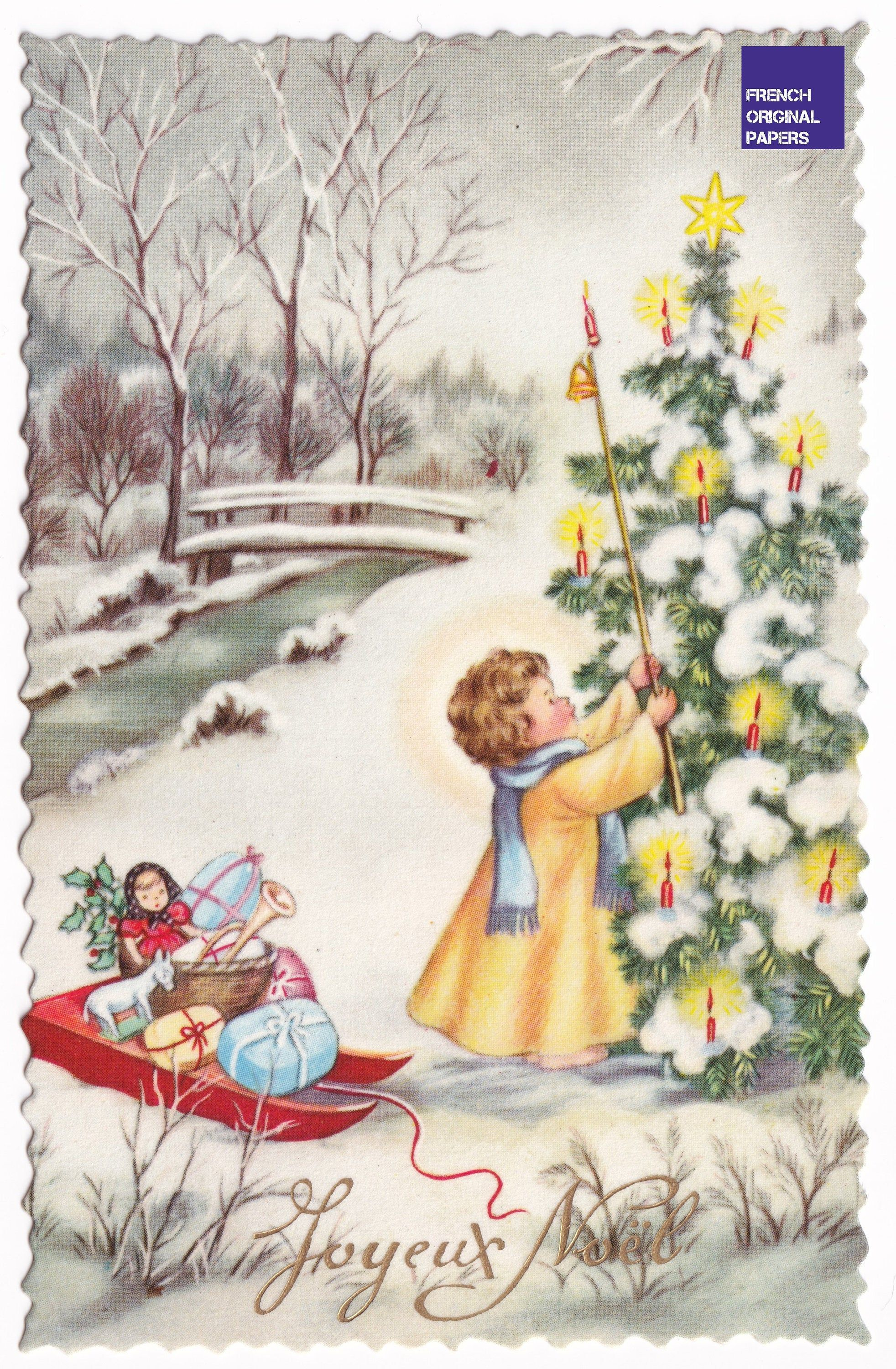 Merry Christmas 1950 S Lovely Vintage French Unused Greeting Postcard Luge Hood Toy Doll Gift Snow Winter Graphism Mountain Tree Candel In 2020 Vintage Postcard Postcard Doll Gift