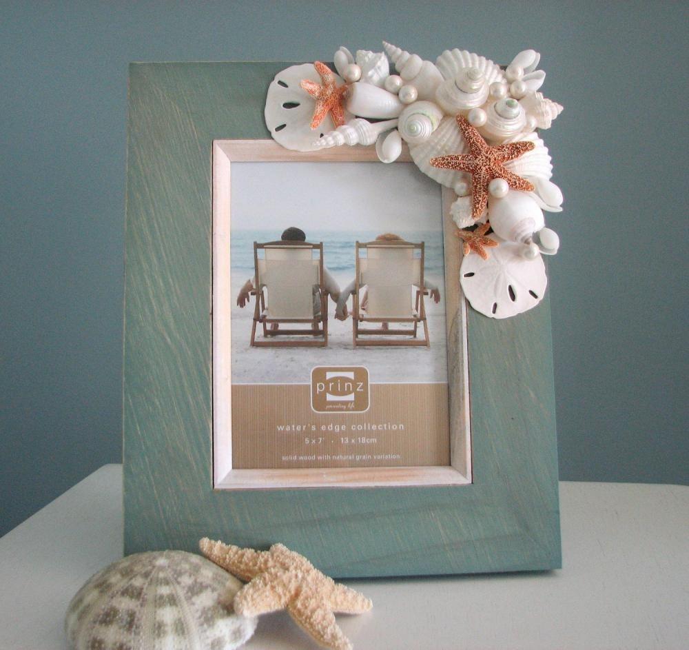 Seashell Frame For Beach Decor Nautical Frame W Starfish Sand Dollars Pearls 8x10 Aqua Beach Theme Decor Seashell Frame Beach Decor