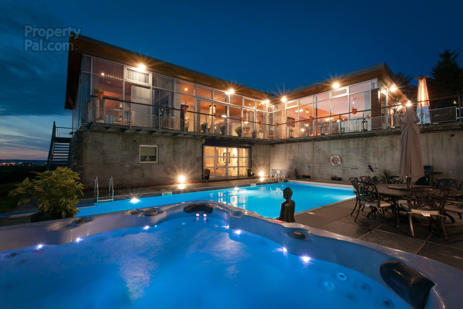 Home With Pool At Night Time Pool Houses Ireland Homes Pool At Night