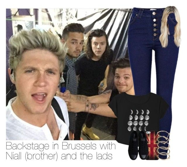 """""""Backstage in Brussels with Niall (brother) and the lads"""" by hpforever00 ❤ liked on Polyvore featuring River Island, Retrò, Converse and MANIAMANIA"""