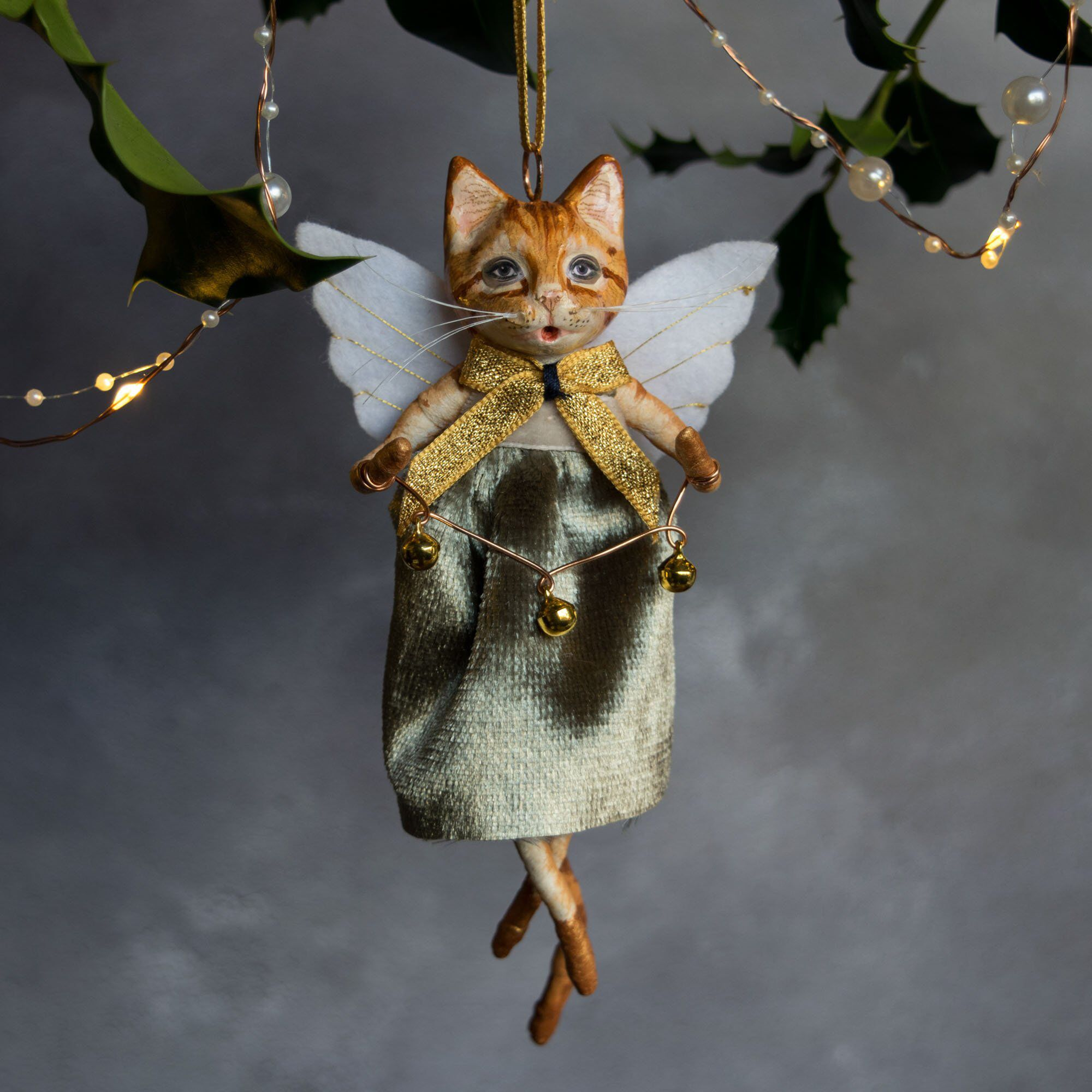 Meg the ginger cat angel, hanging Christmas tree ornament