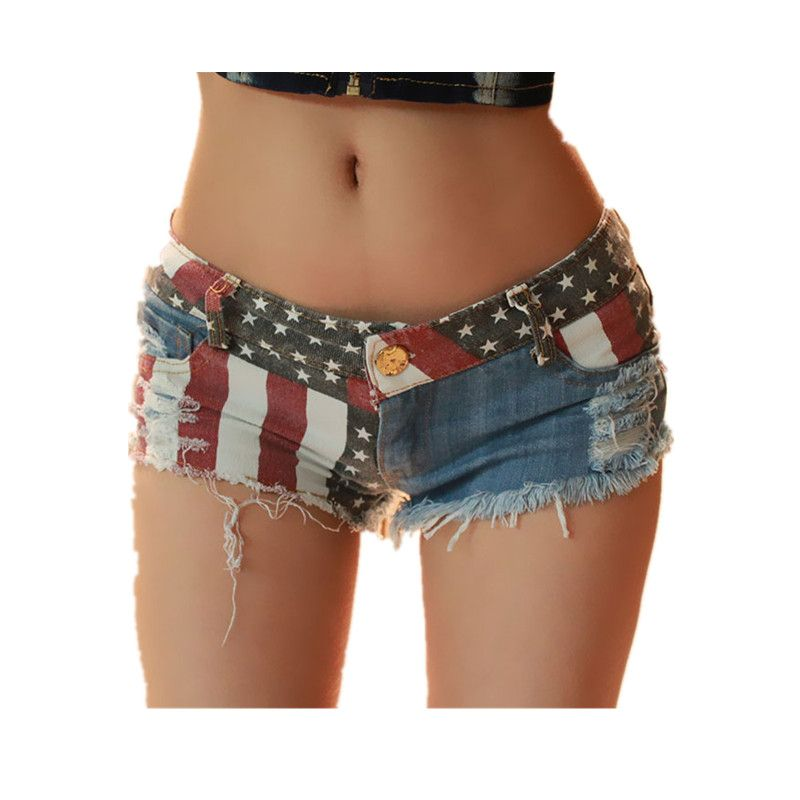 2017 Sexy Women Shorts Europe And American US Flag Mini Shorts Jeans Hot  Short Low Waist 255aba8ebee