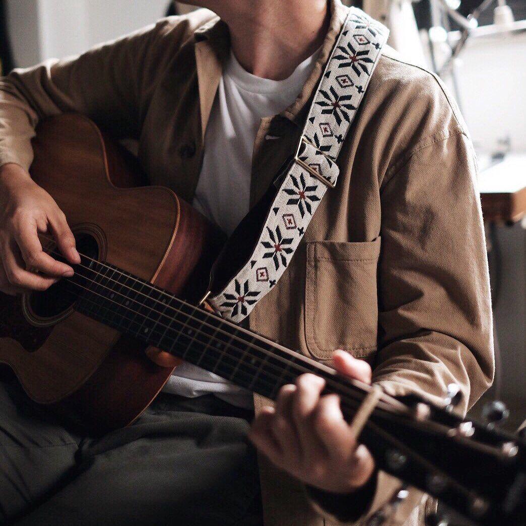 White Woven Guitar Strap Guitar Boy Music Aesthetic Guitar Strap