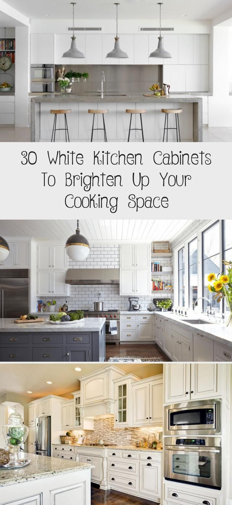 30 White Kitchen Cabinets To Illuminate Your Cooking Space Decorations Cabinets Cooking Decora White Kitchen Cabinets White Modern Kitchen Kitchen Cabinets White kitchen cabinet set