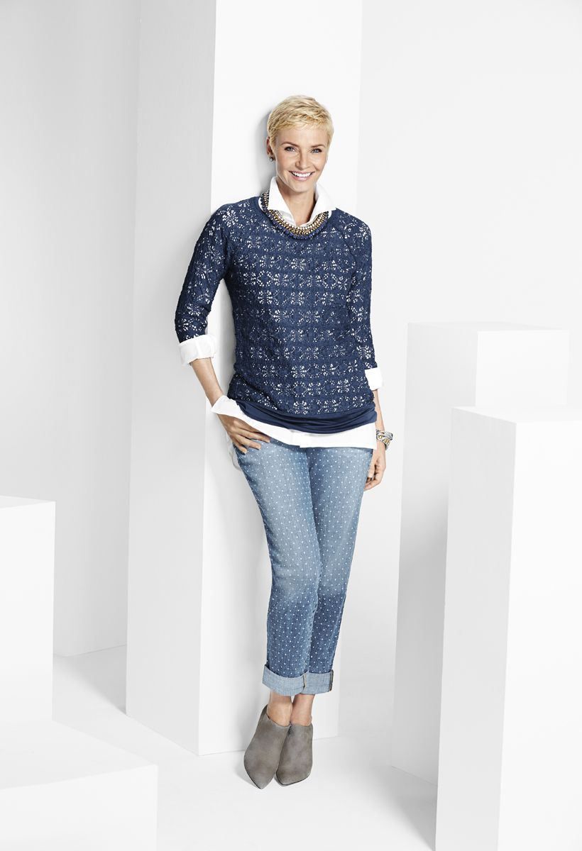 d3b8bdfa1e89f Create a polished look with this textured top. The open-knit design makes  it the perfect layering piece.