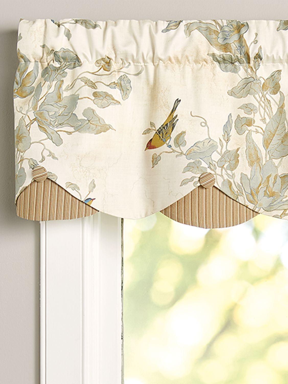 Aviary Rod Pocket Layered Scalloped Valance Valance Window Treatments Kitchen Window Valances Window Treatments Living Room #scalloped #valances #for #living #room